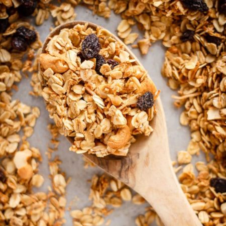 This homemade coconut granola is so fast and easy to make and is easily customizable. Healthy and delicious, it's the perfect breakfast or snack!