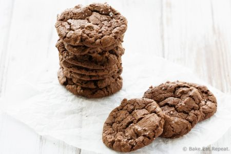 Salted Double Chocolate Cookies - Chewy, brownie-like double chocolate cookies with a sprinkle of salt. Because the only thing that can make a chewy chocolate cookie better is a sprinkle of salt!