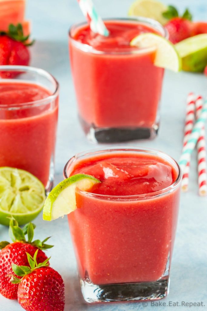 Watermelon smoothie with strawberries and lime