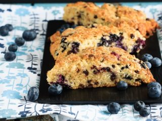 Blueberry Chocolate Chip Scones - Easy to make, light and fluffy blueberry chocolate chip scones sprinkled with coarse sugar - the perfect breakfast treat!