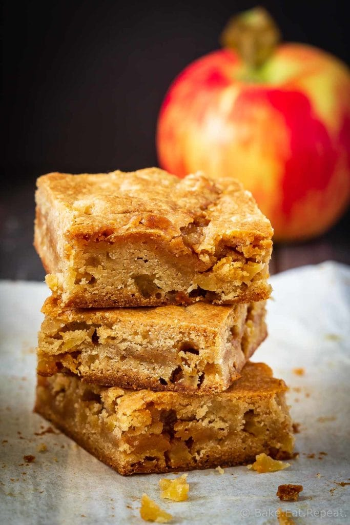 These caramel apple blondies are soft and chewy and filled with apples, cinnamon and salted caramel sauce. They mix up quickly and disappear just as fast!
