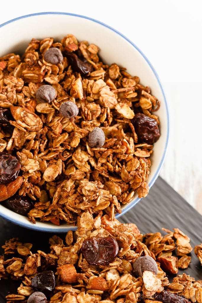Chocolate Cherry Granola - Quick and easy to make, this homemade chocolate cherry granola is a fantastic breakfast or snack, and it's healthier then the store-bought kind!
