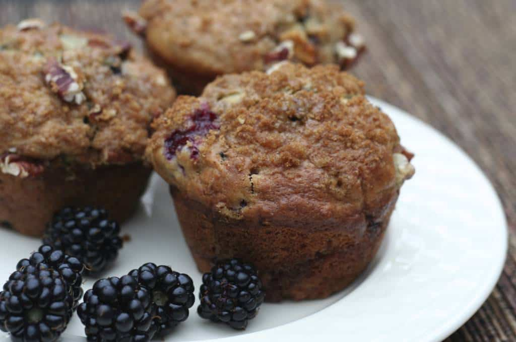 Peach Blackberry Coffeecake Muffins