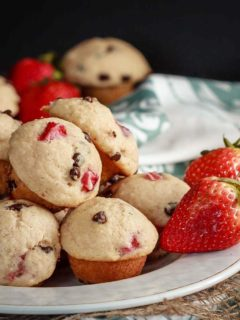 These cute little mini strawberry chocolate chip muffins are quick and easy to make and taste great. Plus they're healthy enough that you can easily have more then one!