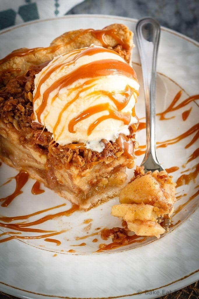 This caramel apple crisp pie is the perfect dessert when you can't decide between apple pie and apple crisp - just make both!