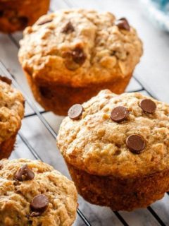 These chocolate chip banana oatmeal muffins are super easy to make. Filled with oats, whole wheat flour, and bananas - they're healthy enough for breakfast!