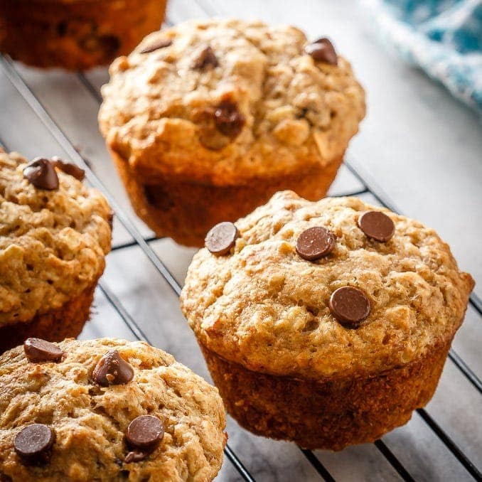 Chocolate Chip Banana Oatmeal Muffins Bake Eat Repeat