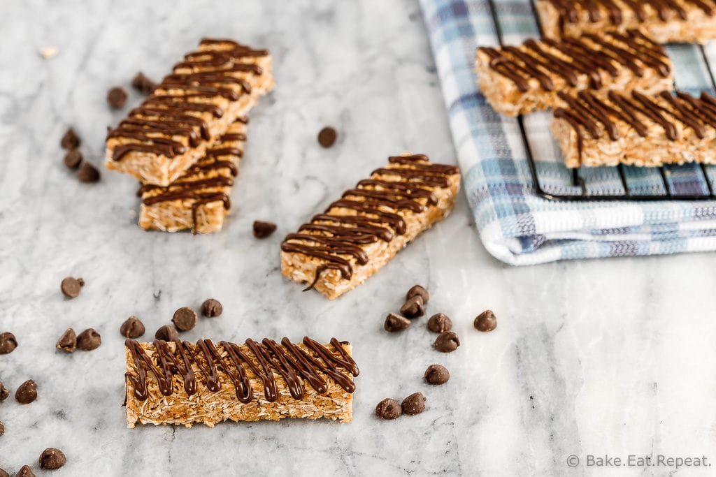 These homemade chewy coconut granola bars are quick and easy to make and are perfect to have on hand for tucking into the kids lunch boxes!