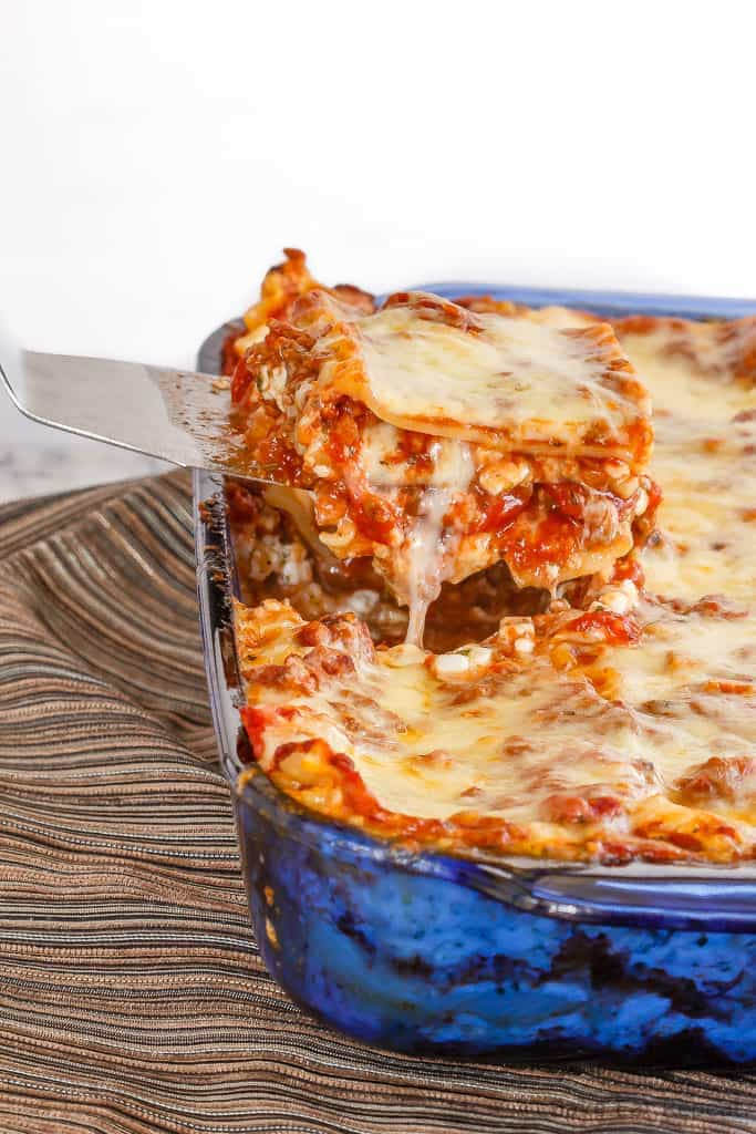 Homemade lasagna is one of my family's favourite meals. A thick and chunky meat sauce and lots of cheese, layered with tender pasta - perfect comfort food!