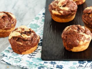 Marbled Chocolate Banana Muffins - These marbled chocolate banana muffins, made with minimal sugar and plain Greek yogurt to keep them a bit healthier, make the perfect breakfast or snack!
