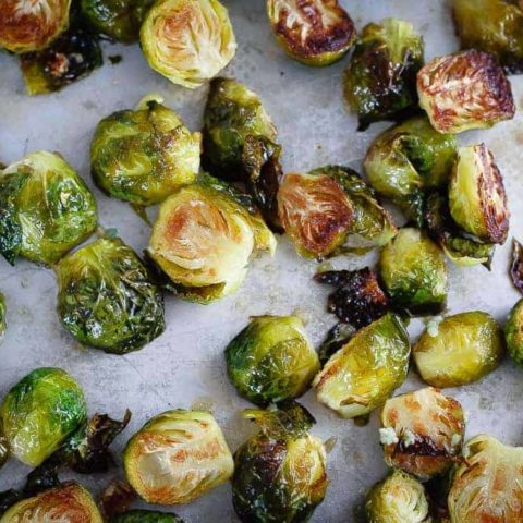 Honey Garlic Roasted Brussels Sprouts