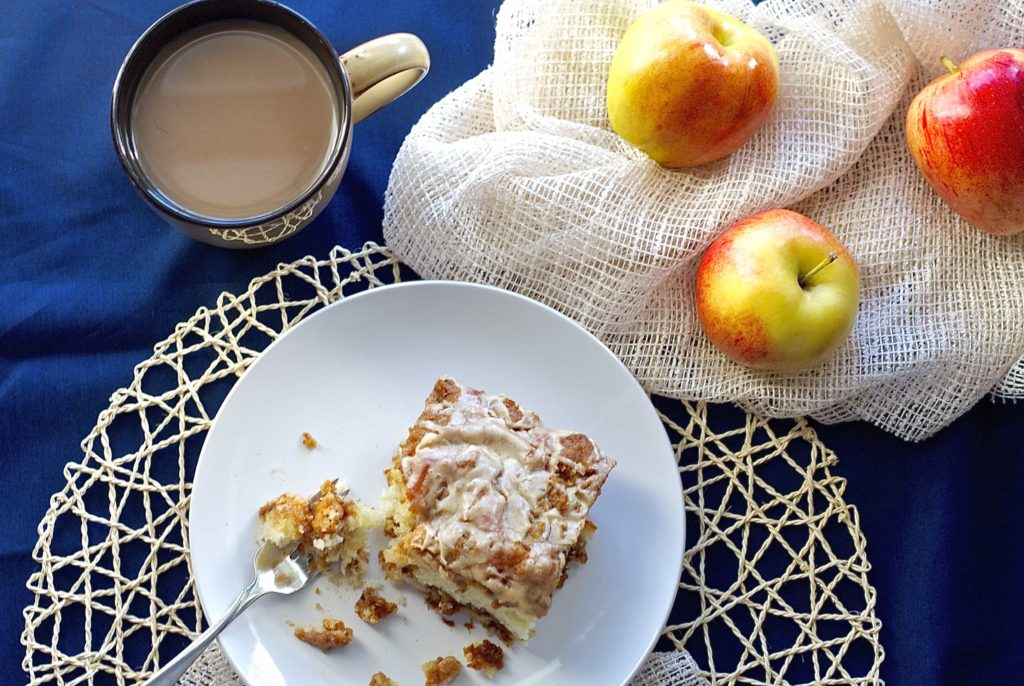 Apple Cinnamon Coffee Cake with a Salted Caramel Glaze - Bake.Eat.Repeat.