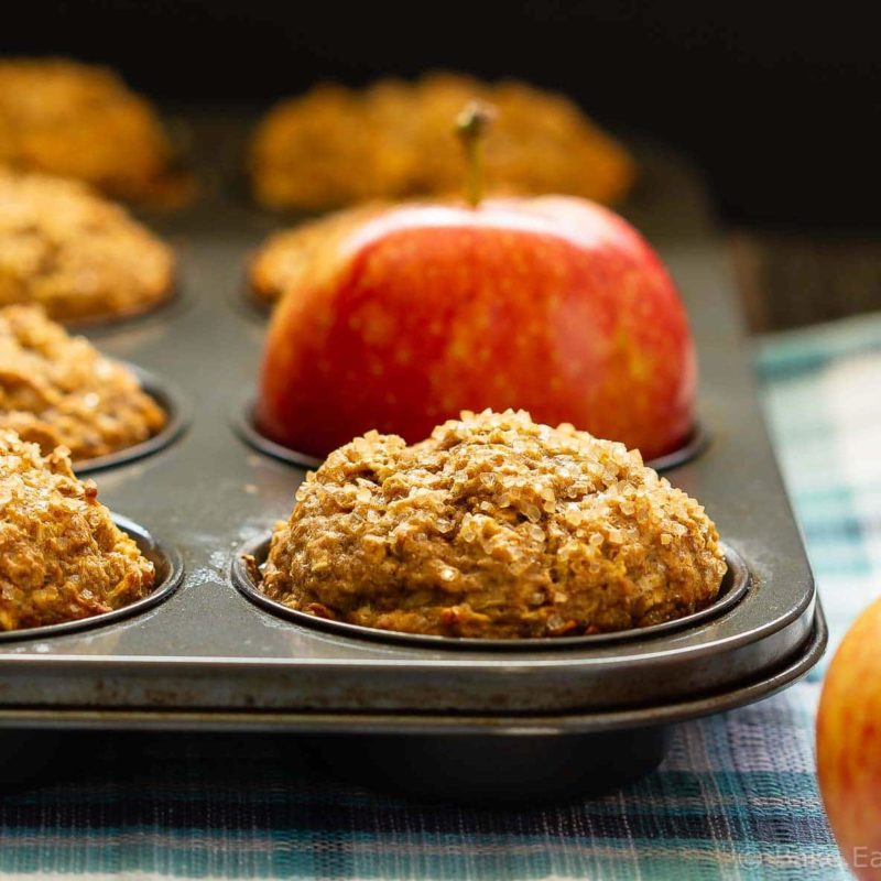 These apple cinnamon muffins are low in sugar and are made with no oil or butter. Filled with oats and apples they're hearty, delicious muffins that are healthy enough for breakfast. They also freeze well for easy grab and go snacks!