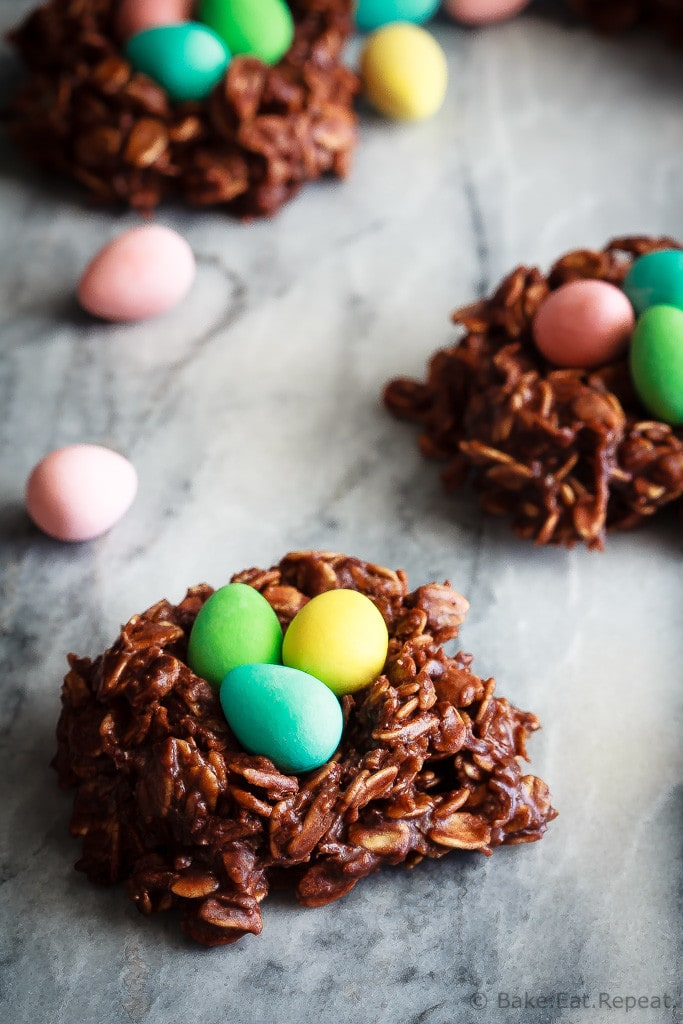 No bake bird's nest cookies