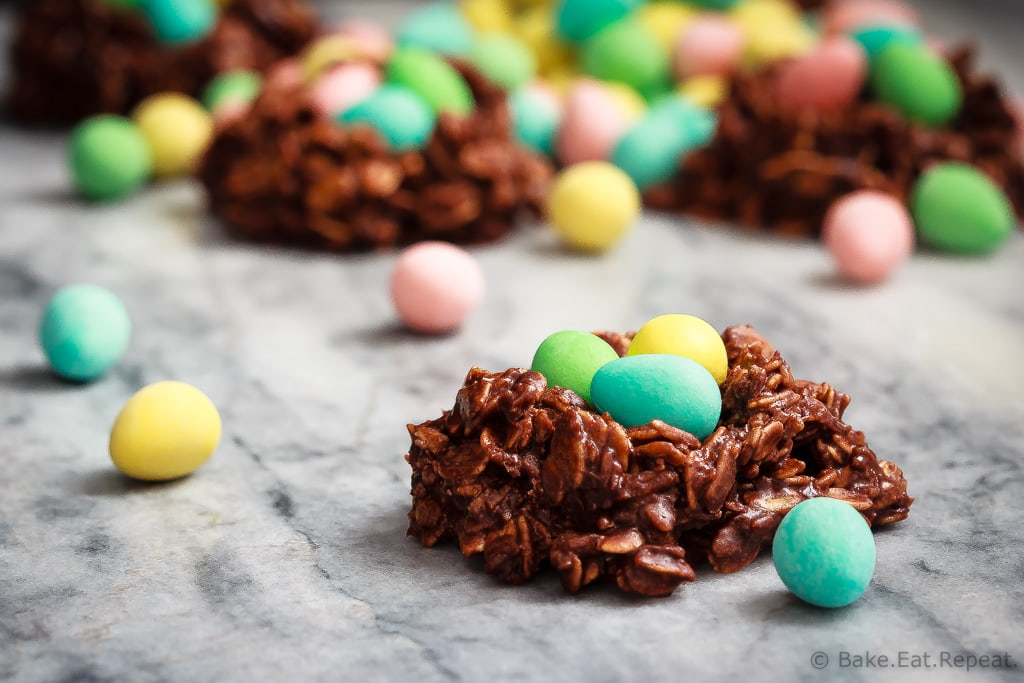 Bird's nest cookies with chocolate mini eggs for Easter