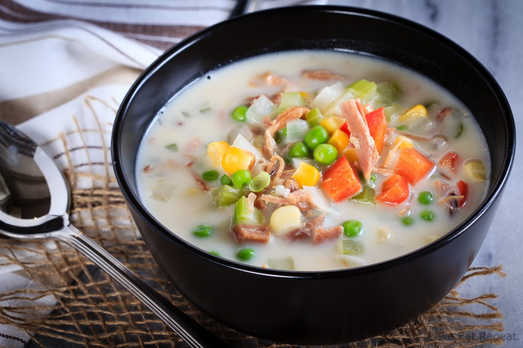 This creamy ham and corn chowder is quick and easy to make, and is a great way to use up leftover ham. Make it either in the slow cooker or on the stove!
