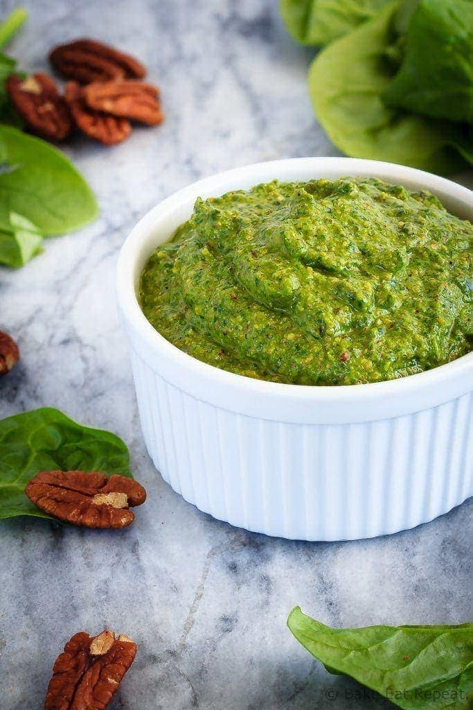 This spinach pesto is so quick and easy to make, you'll wonder why you ever bought pesto!  It's the perfect, flavourful addition in so many recipes! Plus a quick recipe video!