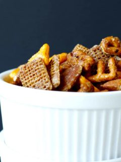 Sweet and Spicy Snack Mix - This snack mix is quick and easy to mix up, with an addictive sweet and spicy coating. Perfect to pack in a lunch, or just eat up straight off the pan!