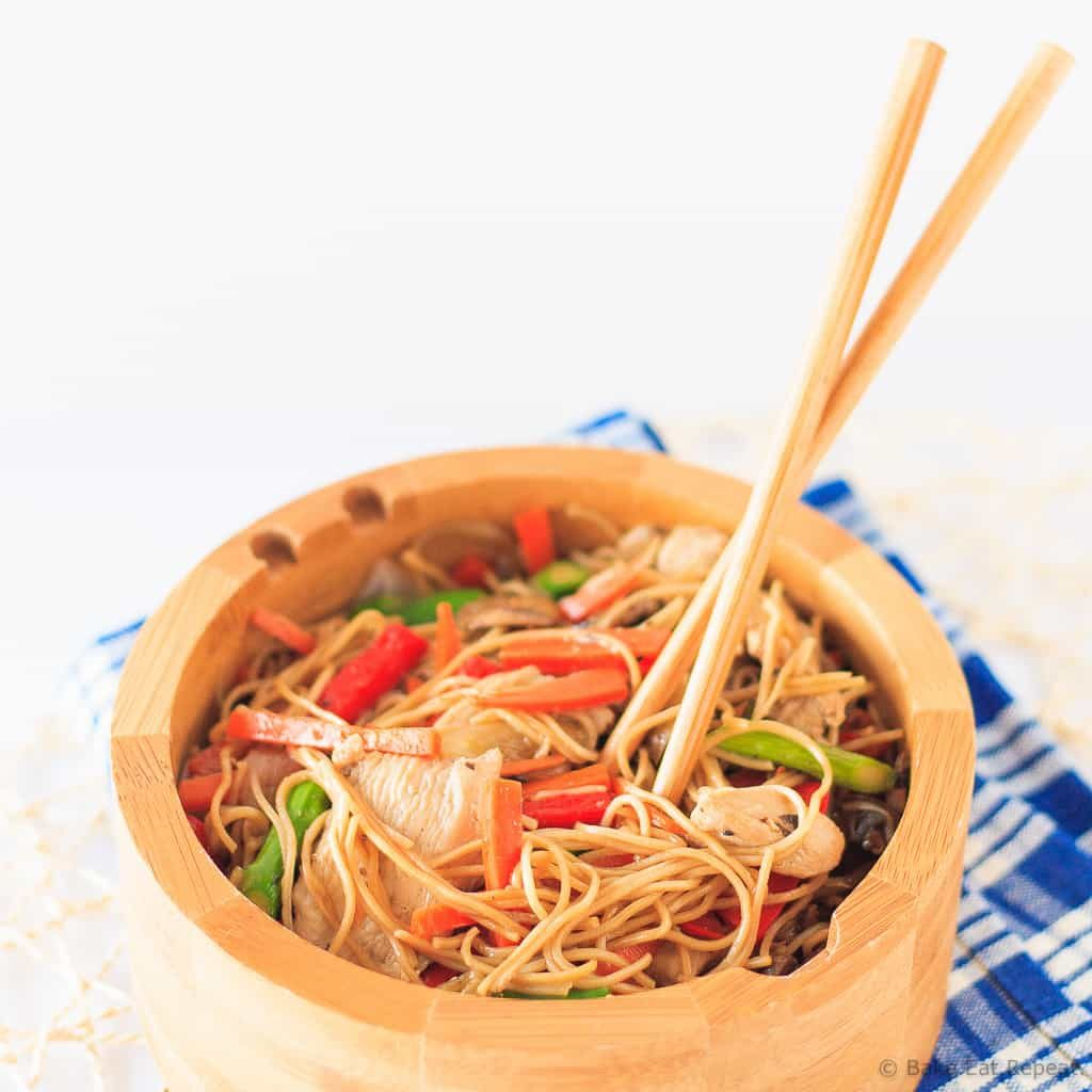Chicken Chow Mein - Quick and easy chicken chow mein that is better than takeout!