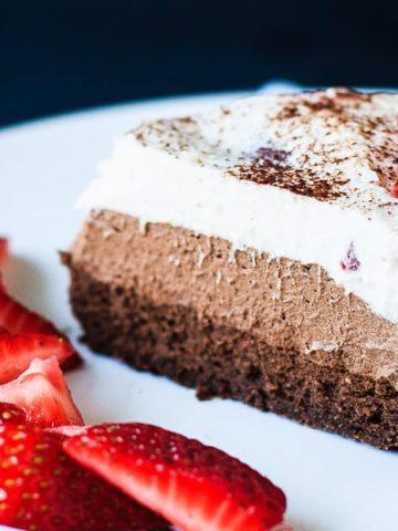Triple Chocolate Strawberry Mousse Cake