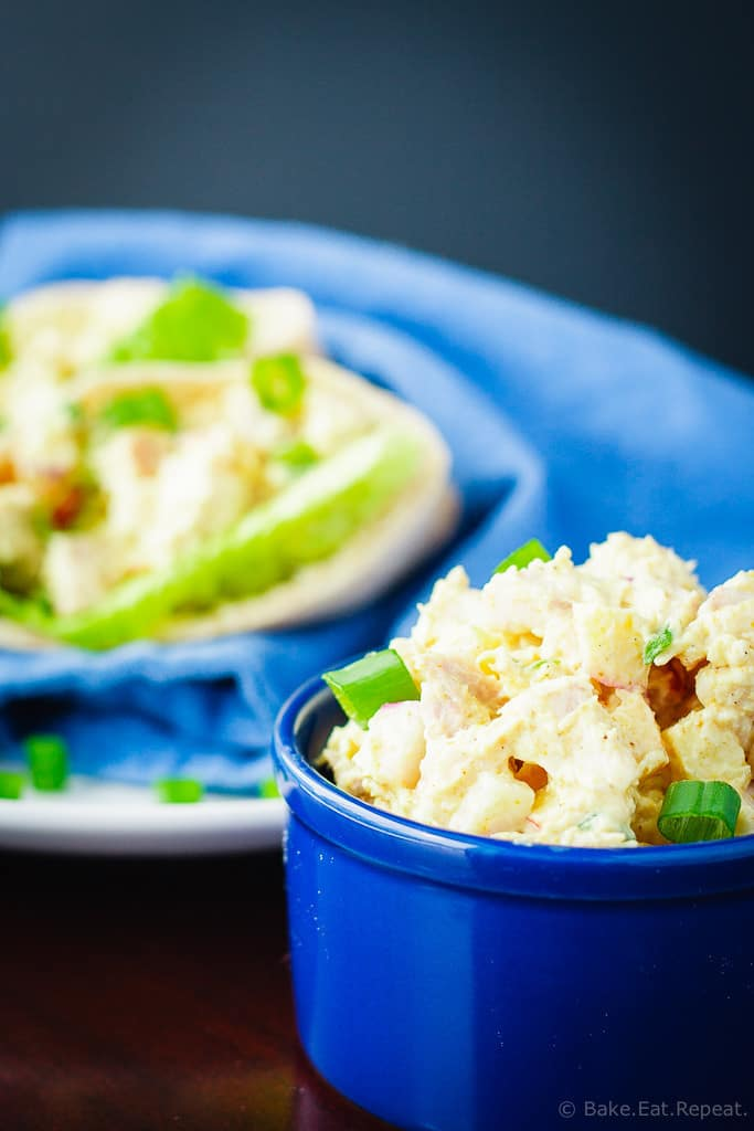 Curried Chicken Salad - This curried chicken salad is fast and easy to make, and makes a great lunch. It's also lightened up with Greek yogurt so it's healthy as well as delicious!