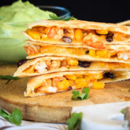 Shrimp Quesadillas with Avocado Cream