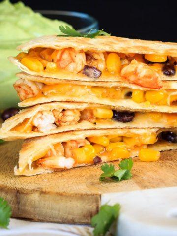 Shrimp Quesadillas with Avocado Cream