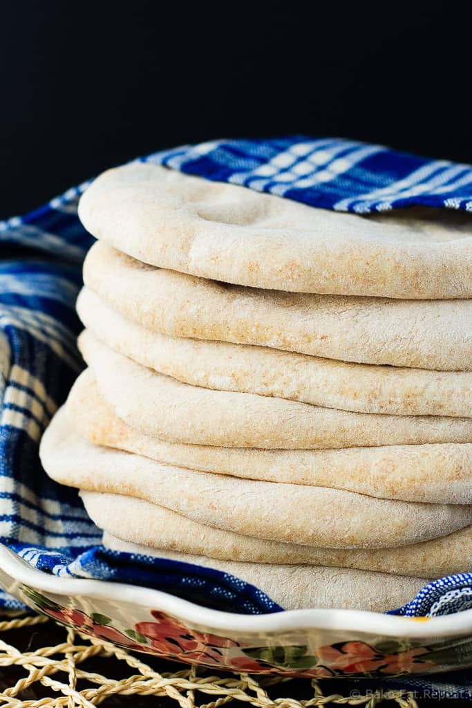 Whole Wheat Pita Bread - Homemade pita bread that is quick and easy and absolutely delicious! You'll never want to buy pita bread at the store again!