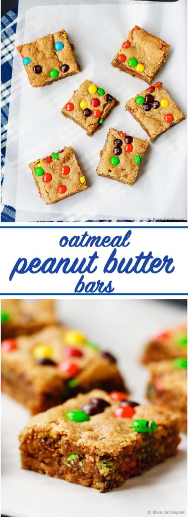 Oatmeal Peanut Butter Bars - Soft and chewy oatmeal peanut butter bars that are filled with peanut butter taste and M&M's. Like a monster cookie bar, but much healthier, with only 1/4 cup honey to sweeten them!