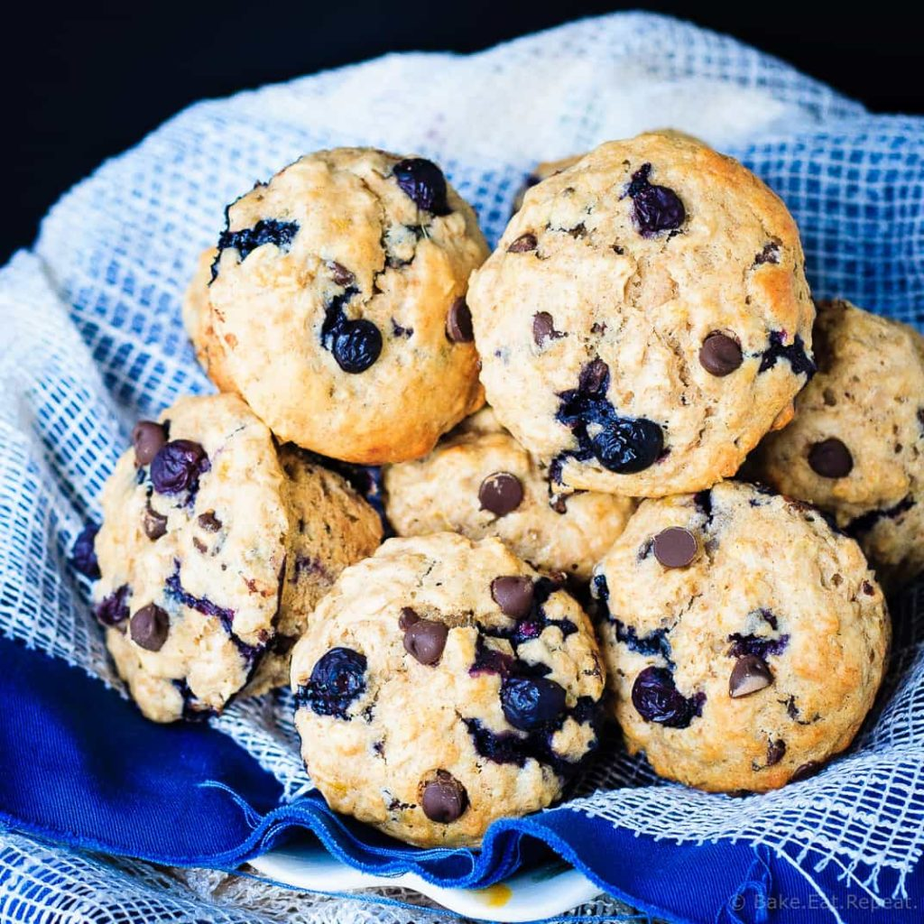 Healthy Banana Blueberry Muffins - Light and fluffy banana blueberry muffins, bursting with blueberries, oats and chocolate chips. Plus, they're healthy!