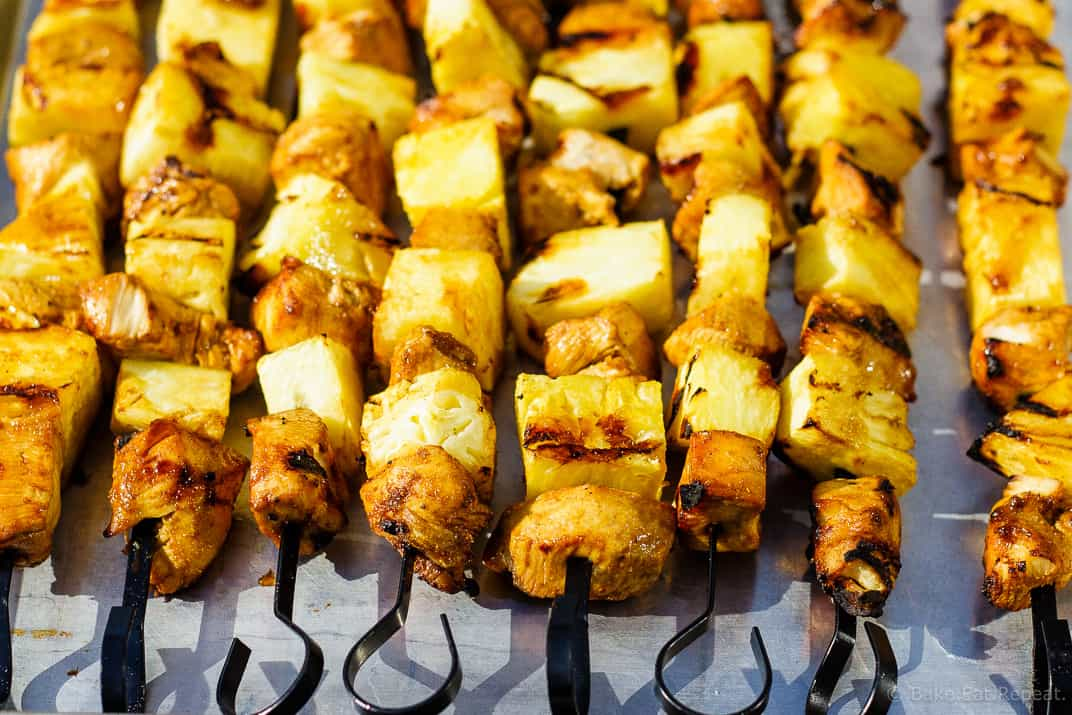 Lime Coconut Chicken Kabobs - Tasty lime coconut chicken kabobs with juicy pineapple that are quick to grill and easy to make! The perfect summertime dinner!