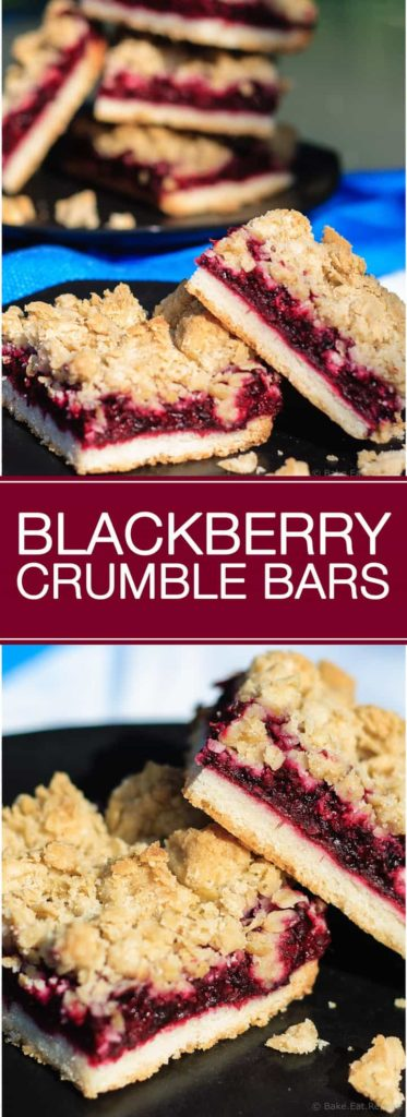 Blackberry Crumble Bars - Easy blackberry crumble bars are perfect for dessert or a special treat to tuck into a lunchbox. A shortbread crust and sweet oatmeal crumble topping with an amazing blackberry filling.