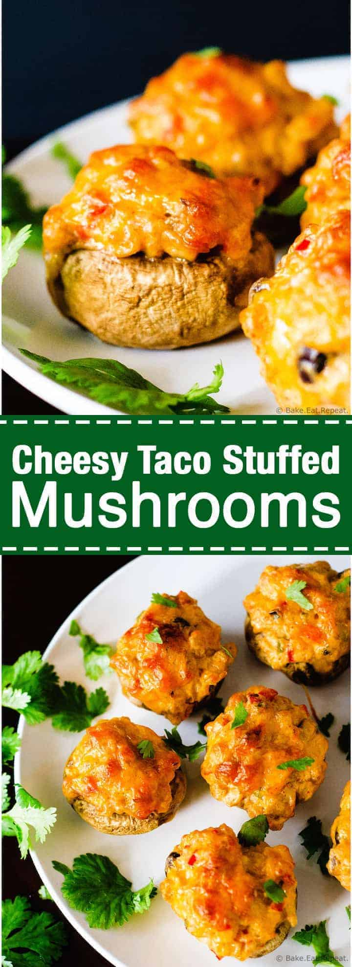 These cheesy taco stuffed mushrooms are easy to make and make the perfect appetizer!