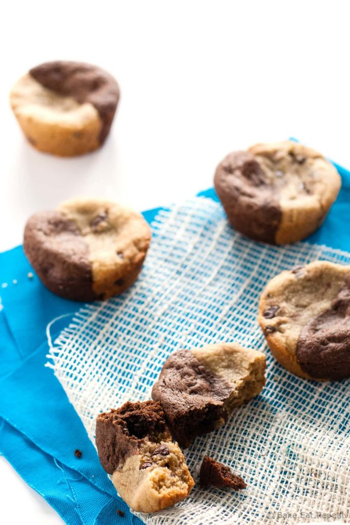 Peanut Butter Brookie Cups - Brookie cups are the perfect treat – a brownie and a peanut butter cookie all wrapped up together in a cookie cup! No need to chill the dough, plus you don't have to decide between a cookie and a brownie – have both!