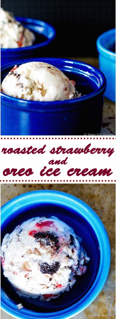 Roasted Strawberry and Oreo Ice Cream - Easy and delicious no churn ice cream filled with roasted strawberries and oreo cookies. Only 6 ingredients to make! Plus, it's lightened up with some Greek yogurt!