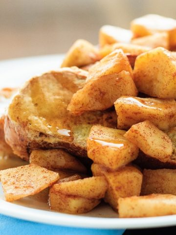French Toast with Cinnamon Apples and Cinnamon Syrup