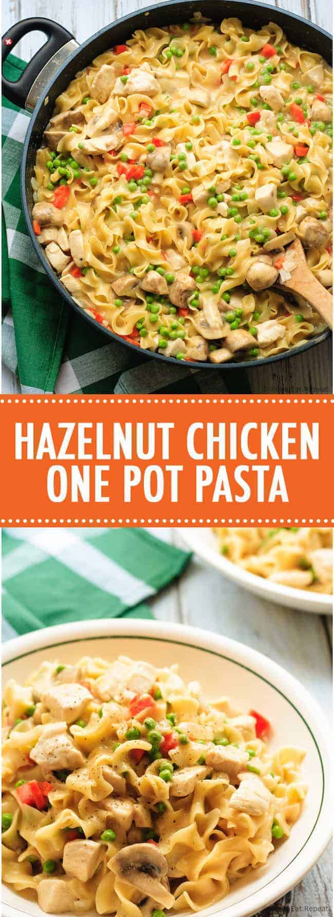 This hazelnut chicken one pot pasta is the perfect 30 minute weeknight meal!