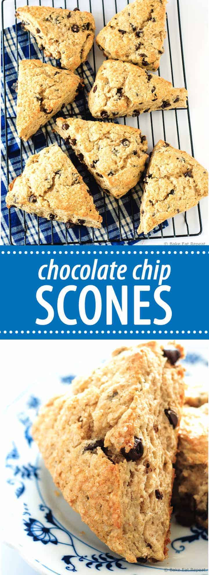 Chocolate Chip Scones - Flaky, tender, filled with chocolate chips and topped with coarse sugar - these scones make the perfect treat with your morning coffee!