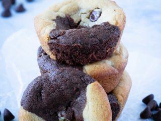 brookies - half peanut butter cookies, half brownie
