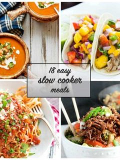 18 Easy Slow Cooker Recipes - A great list of easy slow cooker recipes to make meal time a little easier!