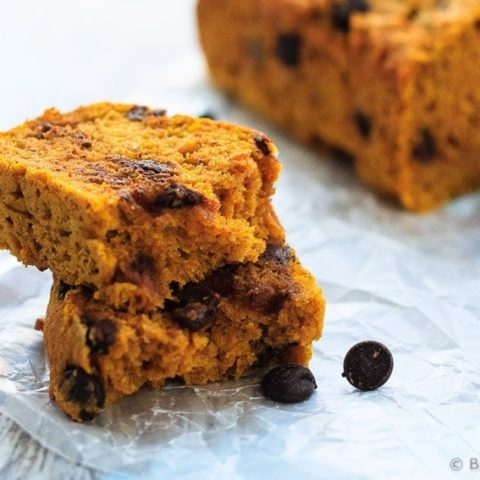 Chocolate Chip Pumpkin Bread - Healthy, moist, dense and delicious pumpkin bread, with chocolate chips! Because chocolate is always a good idea!