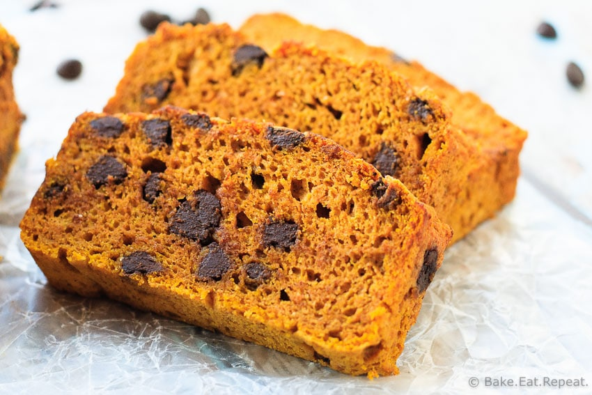 Chocolate Chip Pumpkin Bread - Easy, moist, delicious, and healthy, this chocolate chip pumpkin bread is perfect for a snack, or even for breakfast! Low fat, low sugar, and whole grain.