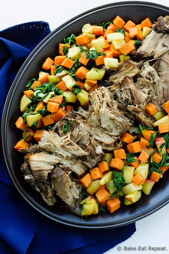 Slow Cooker Pork Roast - An easy slow cooker pork roast with maple roasted sweet potatoes, apples and spinach. The perfect fall meal!