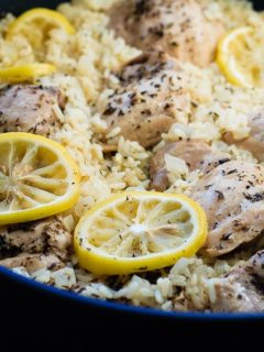 One Pot Lemon Thyme Chicken and Rice - One pot lemon thyme chicken and rice is ready in 30 minutes and filled with flavour. An easy and healthy weeknight meal the whole family will love!