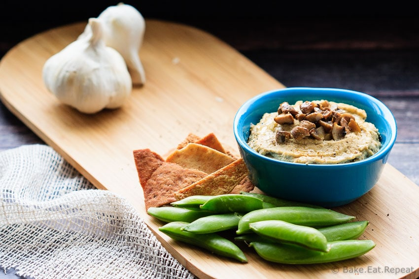 Roasted Garlic and Mushroom Hummus - Easy to make and perfect for a snack, this roasted garlic and mushroom hummus is an amazing flavourful dip!