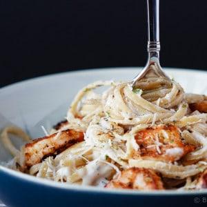 Skinny Cajun Shrimp Alfredo Pasta
