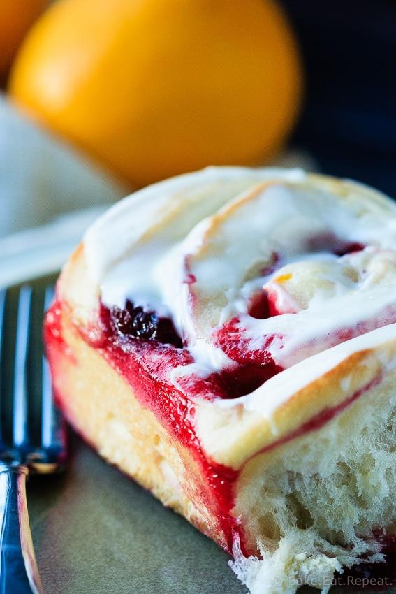Lemon Raspberry Sweet Rolls - Tender sweet roll dough filled with a lemon raspberry filling and topped with a sweet lemon glaze, these lemon raspberry sweet rolls make a fantastic special breakfast!