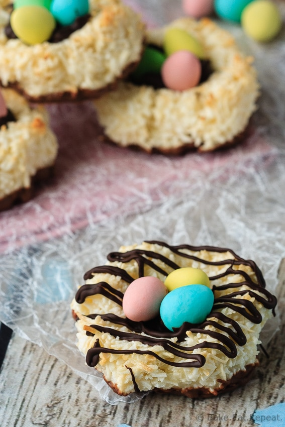 Bird's Nest Coconut Macaroons - Quick and easy coconut macaroons that can be shaped into cute little bird's nests cookies for a fun Easter treat that the kids will love!