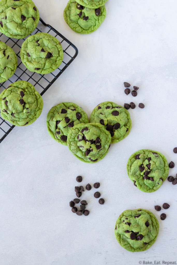 chewy mint chocolate chip cookies