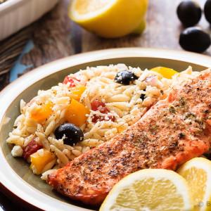 Crispy Salmon with Greek Orzo